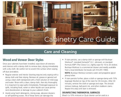 Cabinetry Care and Cleaning Guide